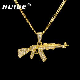 2019 colgante de pistola de oro Aleación Ak47 Pistola Colgante Collar Iced Out Rhinestone Con Hip Hop Miami Cadena Cubana Oro Plata Color Hombres Joyería de las mujeres colgante de pistola de oro baratos