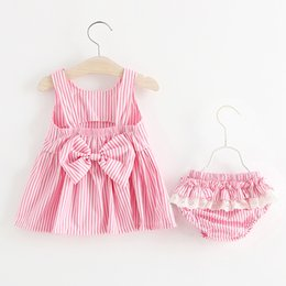 Wholesale korean baby vest - Little Girls Stripe Vest Dress+Pants Outfits Summer Kids Boutique Clothing Korean 1-4T Baby Girls Sleeveless Dresses Set with Bow at Back