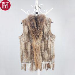 casacos de pele Desconto Mulheres Fur Gilet Brasão 100% genuíno real coletes de pele com borlas Raccoon aparar malha Varejo Atacado