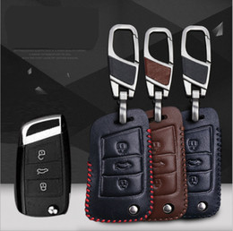 Wholesale Volkswagen Passat Specials - For Volkswagen Passat Hand-stitched leather key case intelligent remote control package special car