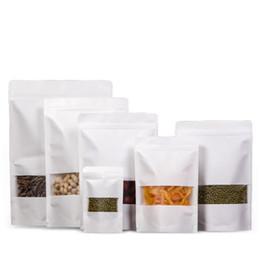 Sacos de zíper de armazenamento de papel on-line-100 pçs / lote bolsas de papel kraft auto selagem Bloqueio Embalagem Sacos de Saco Com Zíper para Longo prazo de armazenamento de alimentos e proteção collectibles