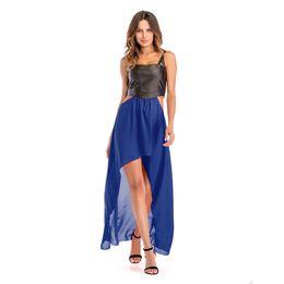 Diseños de patchwork para vestidos online-Nuevo diseño de la moda Sexy vestidos sin mangas Patchwork Strapless mujeres Hi-po empalmado vestido de la suspensión de la gasa larga falda
