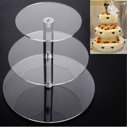 Wholesale Acrylic Cake Stands - 3 Tier Acrylic Cupcake Stand Transparent Cake Tower Rack Holder Pan Wedding Decoration Party Birthday Display Tool ZA5611