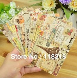 Wholesale Message Stamp - Wholesale- (1 Lot=9 Sheets) DIY Scrapbooking Europe Vintage Stamp Christmas Postcards Greeting Birthday Message Cards Wedding Decoration