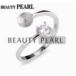 Anelli braccio stili online-5 pezzi Elegante anello di perla stile classico Montature 925 set di punte in argento sterling taglio rotondo bianco zircone chiaro