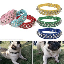 Wholesale Leather Necklace For Dogs - Solid Pet Necklace Bite Proof Leather Belt With Durable Rivet Classic Style For Training Holding Walking Dog Collars BBA232