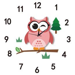 Wholesale Arabic Cartoon - Funlife Arabic Numerals Cute Cartoon Owl Rustic Style Silent Quartz Clock Movement Wall Clock Decor for Kids Room SWC006