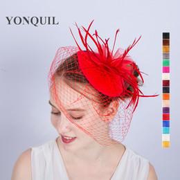 Frauen Neue Mode Hochzeit Fascinator Schleier Feder mesh haarspangen Hüte Frauen Dame Bräute Haarschmuck Urlaub Geschenke SYF195 von Fabrikanten