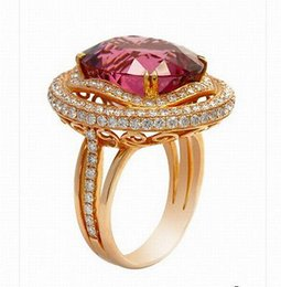 Wholesale 18k Solid Gold Rings - Solid 14K Rose Gold 6.79ct Natural Pink Tourmaline Engagement Diamond Nice Ring