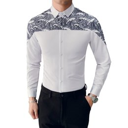 49980dfaa3c Korean Men Shirt Brand New Slim Fit Print Patchwork Tuxedo Mens Long Sleeve  Shirts Night Club Party Prom White Shirts Mens 3XL-M