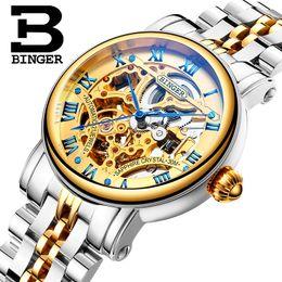механические часы Скидка Switzerland  men's watch BINGER  Hollow Out Mechanical Wristwatches sapphire full stainless steel B-5066M-2