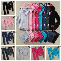 Wholesale Wholesale Jogger Pants Women - Pink Letter Tracksuits Velvet Women Track Suit Hoodies and Pants Sets Casual Tops Jogger Set Outfits OOA4731