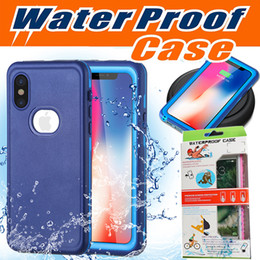 Wholesale Iphone Charge Case - Waterproof Case Hybrid Rubber Armor Anti-scratch With Screen Protector Support Wireless Charging Cover For iPhone X 8 Plus 7 6 6S Samsung S8