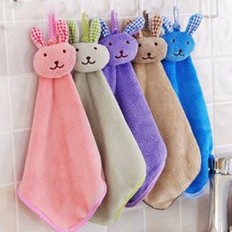 Wholesale Wholesale Hangers For Children - 41*21cm Cute Bunny Coral Towel Soft Fleece Absorbent Hand Dry Towels Hanger Wash Cloth for Kitchen Bathroom