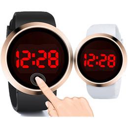 mens levou relógio led Desconto Rodada de moda clássico das mulheres dos homens da tela de toque LED relógios rosa de ouro dial ladies amantes casal negócios liga relógios eletrônicos