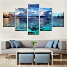 2019 conjuntos de imágenes para sala de estar Calm Water Canvas Set Wall Art Decor Wall Modular Pictures para Living Room Canvas Canvas Sea Modern Pictures Drop Shipping rebajas conjuntos de imágenes para sala de estar