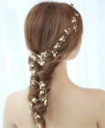 Wholesale Gold Leaf Hair Band Accessories - Wedding Bridal Leaf Headband Gold Long Hair Band Jewelry Pearl Crown Tiara Hair Accessories Jewelry Headpiece Headdress Princess Queen Band