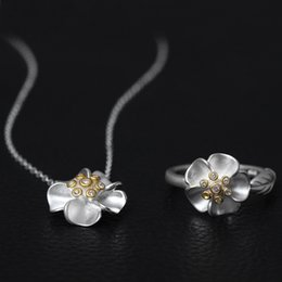 Wholesale Clavicle Ring - Original Chinese wind Pendant Necklace 925 pure silver national wind flower opening ring Set auger female clavicle chain jewellery wholesale