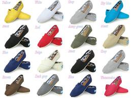 Toms plats en Ligne-Chaussures Casual Femmes / Hommes Classics TOm MRS Mocassins Toile Chaussures Slip-On Flats Chaussures paresseuses taille W5-10 M11-15 Livraison gratuite