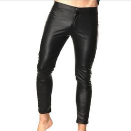 calças de couro de desempenho masculino Desconto Mens Faux Patent Leather Skinny Calças Boate Palco Slim fit Calças de Desempenho Estiramento Leggings Wetlook Homens Calças Sexy