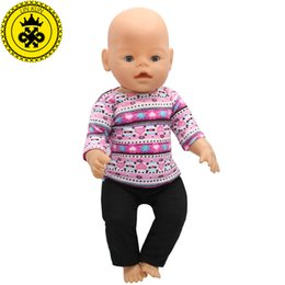 Wholesale Baby Girl Sweater Months - Purple Sweater + Black Pants Suit Dress fit 43cm Baby Born Zapf Doll Clothes and 17inch Doll Accessories Handmade 188