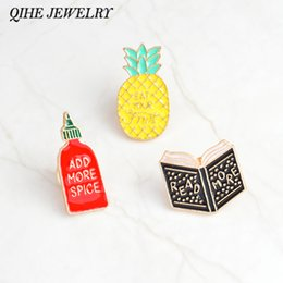 """Wholesale fruit spices - QIHE JEWELRY Enamel pins Book pineapple spice bottle pins """"READ MORE,ADD MORE SPICE,EAR YOUR FRUIT"""" badges funny pins jewelry"""