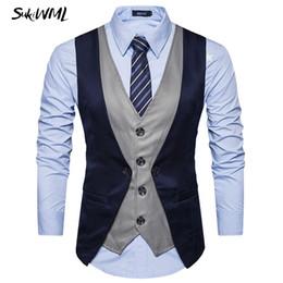Wholesale chaleco slim fit - SUKIWML New Luxury Brand Chaleco Hombre Vestir Slim Fit Colete Social Mens Suit Vest Faker Two Pieces Gilet Costume Homme S-2XL