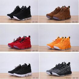 online store a04e2 b2c27 6 couleurs nouveau chaussures de basket-ball pour les garçons LeBron 15  rouge noir Lebrons enfants filles formation sports Sneakers chaussures  James avec ...