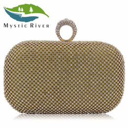 Wholesale River Wedding - Wholesale- Mystic River Women Clutches Ring Rhinestone Clutch Bag Laides Gold Evening Bags Wedding Clutches Party Purse