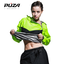 Wholesale Heavy Duty Polyester - Puza Reduce Weight Sauna Suits Female Train Sweat Tracksuit Heavy Duty Running Sets Fitness Exercise Sportswear Sports Clothes