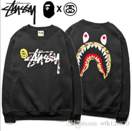 Wholesale Round Neck Sweaters - Tide brand APE shark head T-shirt winter plus cashmere thickened young students round neck shark tooth set sweater