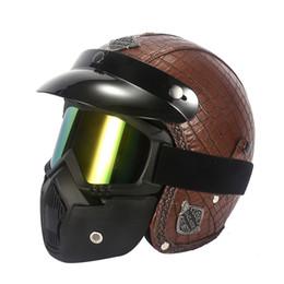 Capacetes de ponto de rosto aberto on-line-Profissional Retro capacete Da Motocicleta Máscara de Óculos de proteção máscara Vintave capacete aberto óculos de proteção cruz disponível DOT aprovado