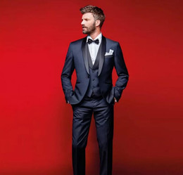 Wholesale slim fit suits for prom - Classy Navy Blue Wedding Tuxedos Slim Fit Suits For Men Groomsmen Suit Three Pieces Cheap Prom Formal Suits (Jacket +Pants+Vest+Bow Tie)