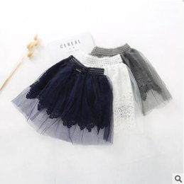 Wholesale Wholesale Mesh Skirts - Girls princess skirts kids lace hollow out skirts cute children elastic waist mesh tulle Skirts 2018 Spring girls pleated skirt C2524