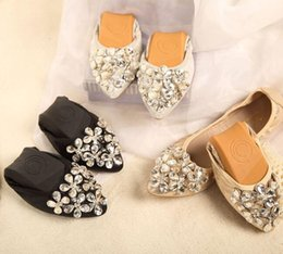 Wholesale Opening Drive - 2016 Fashion Leather Shoes Rhinestone Crystal Rollable Foldable Soft Comfortable Pregnant Ballerina Ballet Flats Driving Shoes
