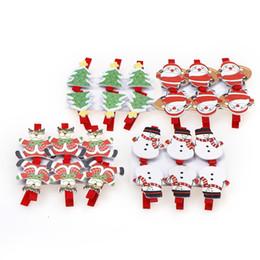 Wholesale Paper Clip Black - 6PCS Set Christmas Wood Santa Claus Clips Ornaments Photo Christmas Paper 3*5*1cm Clothespin Tree Pendant