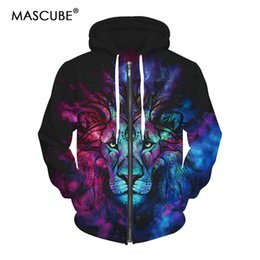 Wholesale Top Hoodie Designs - MASCUBE 3D Lion King Hoodie Sweatshirt Men Animal Pattern Design Print Mens Top Autumn Winter Streetwear Hoodies Brand Clothing