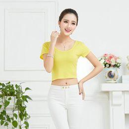 c7601e6f5fa897 Women Casual T-Shirt Summer Short Sleeve Tight Thin Crop Tops Sexy t shirt  for Women discount short crop tops