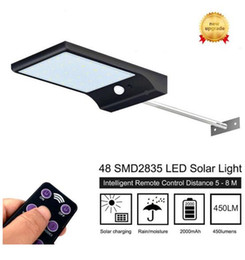 Wholesale Remote Control Solar - 600lm led 48 leds Solar Light With 3 Modes 7 Color Remote Control Waterproof Motion Sensor Lamp Lights For Outdoor Garden Street lamps