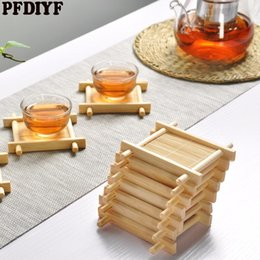 Wholesale square dishes set - PFDIYF 10 Pcs set Hollow Bamboo Coaster Heat Insulation Pad Anti Scald Placemat Table Mat Dish Pot Holder Kitchen Accessories