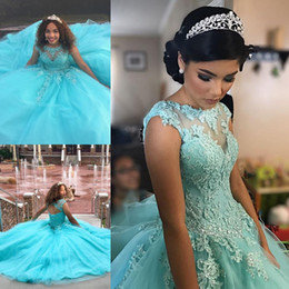 Tulle 8e année robe formelle en Ligne-Bleu ciel appliques perlées Tulle Quinceanera robes de bal 2019 Corsage Lace Up dos robes de soirée formelles 8e Grade Junior filles robes de graduation