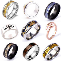 Wholesale 18k Gold Dragon Ring - Hot Sale Valentine's day Dragon 316L stainless steel Ring Mens Jewelry Wedding Band male ring for lovers