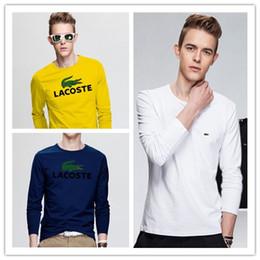 2019 большие мужские футболки Новый дизайн роскошный большой крокодил человек топы с длинным рукавом футболки хлопок футболки тройник вышивка футболки для мужчин женская уличная одежда дешево большие мужские футболки