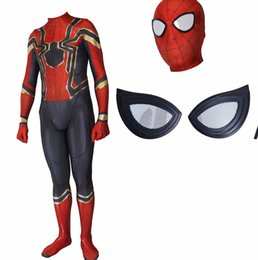 Wholesale classic spiderman spandex costume - Spiderman Homecoming Cosplay Costume Zentai Iron Spider Man Superhero Bodysuit Suit Jumpsuits