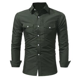 Wholesale Man Shirts Double Pockets - 2018 Spring New Men Shirt Brand Fashion Tide Classic Double Cover Double Pocket Mens Long Sleeve Shirt Casual camisa masculina