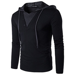 Slim fit t shirt for men online-Männer Casual Slim Fit T-Shirt mit Kapuze / Hoodies Tops Männlich Schlank Male Tops Solid Color Stitching