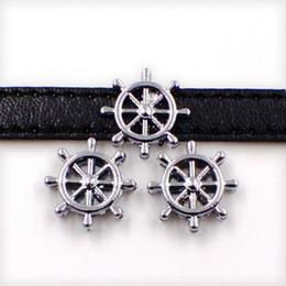 pulseira de roda do navio Desconto 8mm Navio Navio Barco Roda Leme Slider Encantos Beads Fit 8mm Nome Colarinho Cintos Pulseira Pulseira Jóias