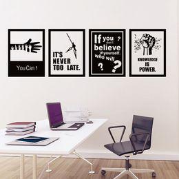 Canada 4 pcs / set mots de motivation sticker mural auto-adhésif papier encourageant slogan bureau école maison stickers muraux art cheap adhesive words for walls Offre