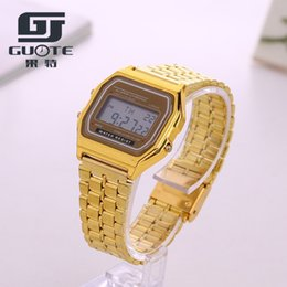 Дешевые цифровые водонепроницаемые часы онлайн-GUOTE  Fashion Design LED Watch Cheap Electronic Digital Watches For Men Women Gold Multifunction Life Waterproof Watch