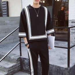 Wholesale Square Shaped - Vintage Track Suit Spring Summer Casual Jogger Sporting Tracksuit Hip Hop Mens Set Contrast Square Shape Men's Suit Black White